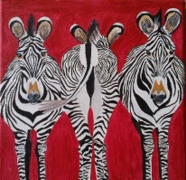 oil painting red background and three zebras on canvas