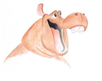 watercolor painting of a hippo