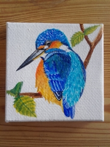 painting of a kingfisher made with acrylics on a small canvas