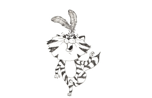 fineliner black and white illustrations of a cat character dancing