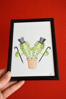aquarel illustratie 10x15cm, onderdeel van een serie cactus illustraties, tine creates