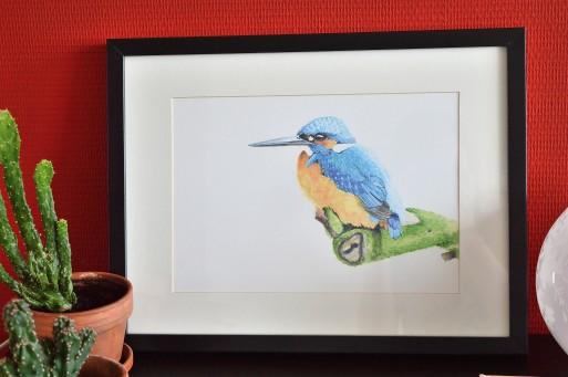 A4 print, vogel print, ijsvogel, 300gr stonemark paper, tine creates