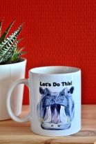 keramieken mok 300cl, nijlpaard print, ceramic mug, wit, tine creates