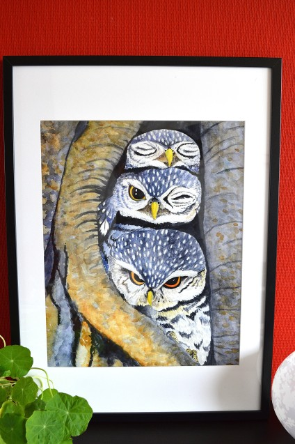 Glicée print 40x60cm of three little owls, vogel print, fine art, hahnemuhle, tine creates