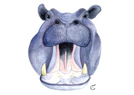 watercolor painting of a purple hippo