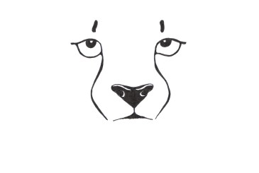 Minimalistic black and white illustration of a cheeta