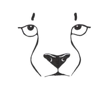 Minimalistic black and white illustration of a cheeta