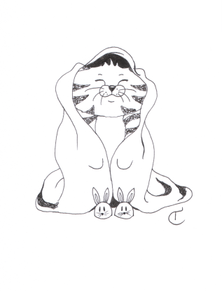 fineliner black and white illustrations of a cat character with a blanket