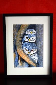A4 print of three little owls, vogel print, 300gr stonemark papier, tine creates