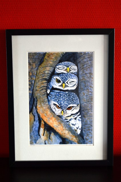 A4 print of three little owls