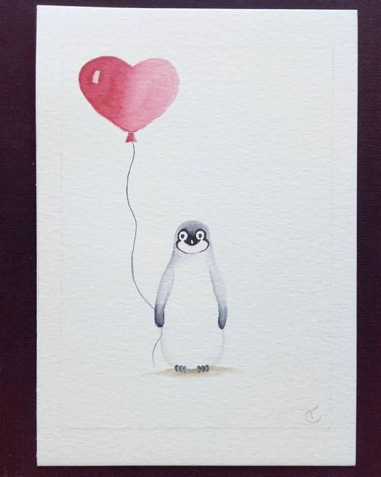pinguin geschilderd met aquarelverf op aquarelpapier