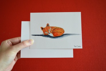 postcard red sleeping fox