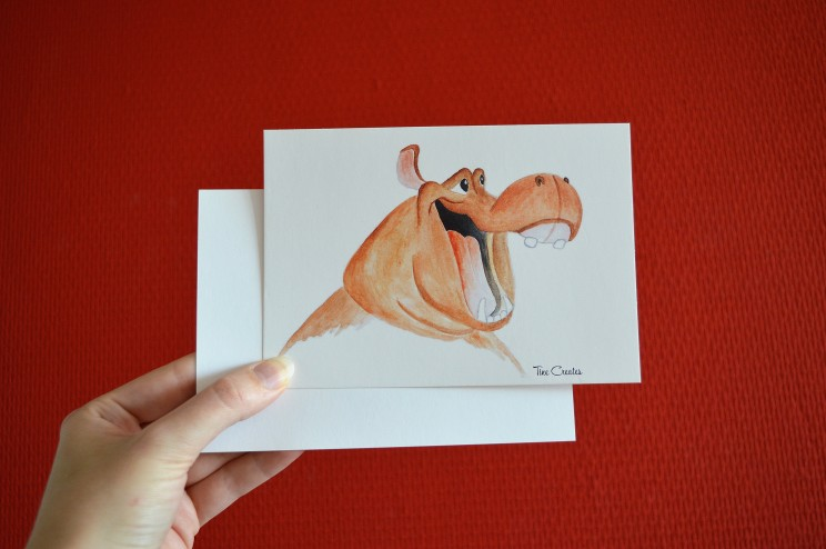 happy hippo postcard