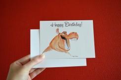 postcard hippo print happy birthday