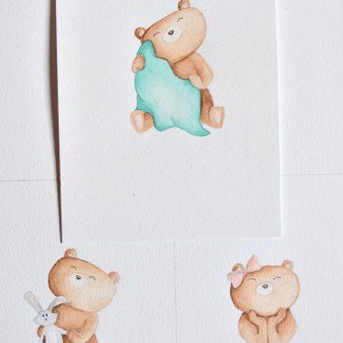 illustraties 3 beertjes voor postzegel sandd
